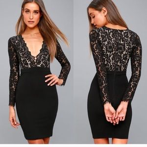 Lulu's Swooner or Later lace bodice dress